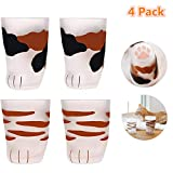 Cat Paw Cup,Cat claw Cup Milk Glass Frosted Glass Cup Cute Cat Foot Claw Print Mug Cat Paw for Coffee Kids Milk Glass Cups Tumbler Personality Breakfast Milk Cup (4pack,color 1+color 2)