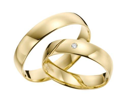 Fedi d'oro 333, marca Rubin Juwelier, in oro giallo con pietra e diamanti