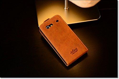 Akira Hand Made [Echt Leder] Handyhülle kompatibel mit Samsung i 9070 Cover Handgemacht Case Schutzhülle Etui Flip Wallet Pen Hell Braun