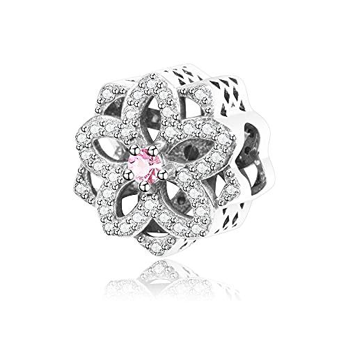 LIIHVYI Pandora Charms para Mujeres Cuentas Plata De Ley 925 Joyería Colgante De Flores De Moda Compatible con Pulseras Europeos Collars