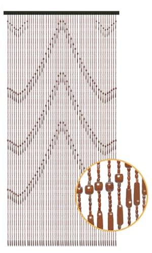TIENDA EURASIA® Cortina Puerta Exterior - Cortinas de Tiras de Madera Decoradas - Ideal para todo tipo de puertas - 90 x 200 cm (Pirámide)