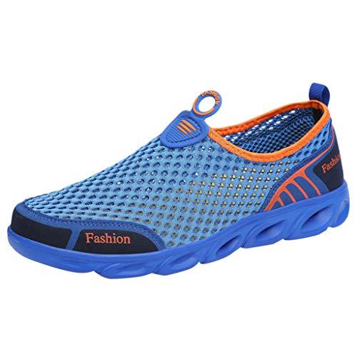 Xmiral Sportschuhe Wasserschuhe Herren Mesh Schuhe Atmungsaktiv Turnschuhe Strandschuhe Badeschuhe Laufschuhe Gummisohle Einfarbig Gymnastikschuhe Verschleißfest(Blau,40 EU)