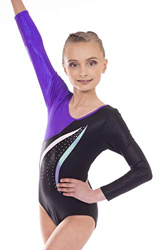 Vincenza Dancewear Mambo Girls Long Sleeved Leotard for Gymnastics (9-10 Years, Purple)