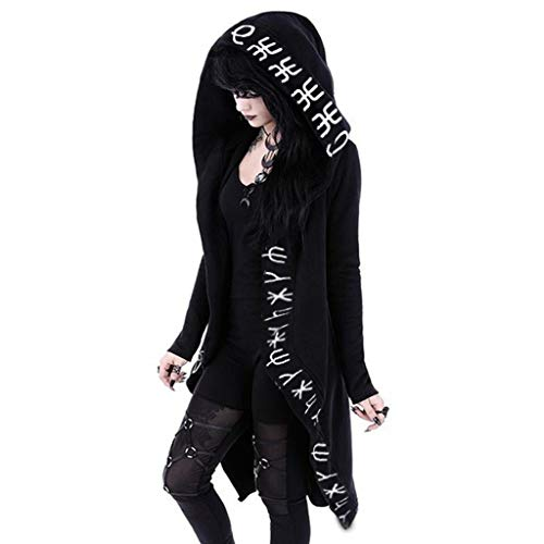 Women Plus Size Gothic Clothes Hooded Jackets Coats Cardigan Black Vintage Moon Printed Punk Goth Clothing, S-5XL