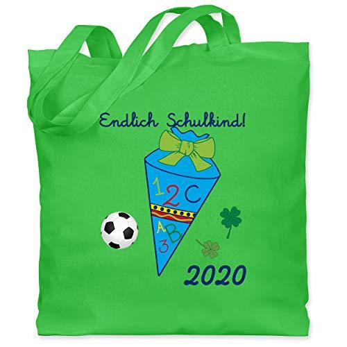 Einschulung und Schulanfang - Endlich Schulkind Fußball 2020 Jungen Schultüte blau - Unisize - Hellgrün - zur einschulung geschenk - WM101 - Stoffbeutel aus Baumwolle Jutebeutel lange Henkel