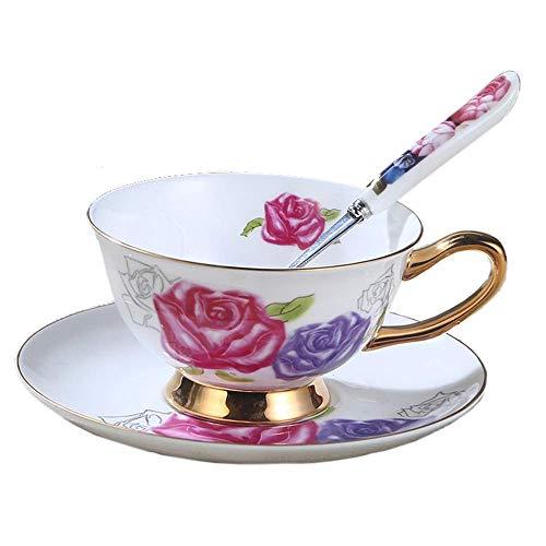 TEAYASON Tazas de Té de Café de Porcelana Taza Y Platillo de Té de Porcelana Juego de Capuchino Floral Vintage Dos Platos para Restaurante en Casa (Color: C, Tamaño: Talla Única),H