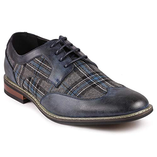Metrocharm Alex-06 Men's Plaid Lace Up Wing Tip Classic Oxford Dress Shoes (10.5, Navy/Gray/Teal)