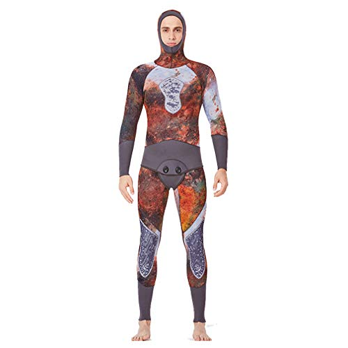 EMEIJIA Mens 5Mm Hooded Wetsuit Camouflage, Split Watersport Wet Suits