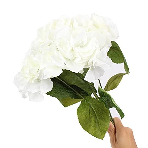 SHOWWE 2 racimos de flores de simulación de hortensias, 5 puntas, hortensias de Mallorca, ramos frescos y simples, para el hogar, boda, flores falsas para decoración de 45 cm (blanco)
