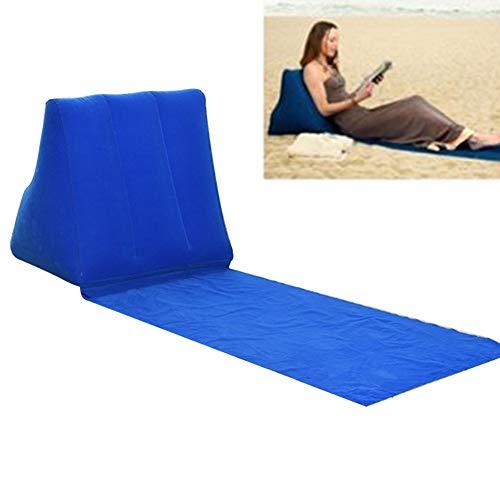 Dyda6 Tragbare Sonnenliege Strandmatte Faltbare Wasserdichte Rest Strandmatte mit aufblasbarem Kissen Liege Kissen für Garten Park Reisen Wandern Picknick Camping, blau, Free Size