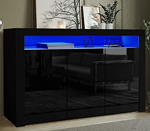 Led Sideboard Cupboard Cabinet Black w/Led Lights +Remote For Living Room Bedroom, 155cm 3 Door & 6 Cube Shelves Storage Display Cabinet Unit, Matt Body & Front High Gloss Doors Sideboards Furniture