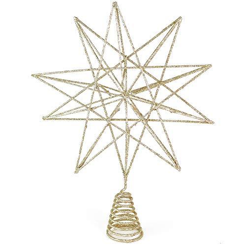 Ornativity Glitter Star Tree Topper - Christmas Sparkly Metal Wire Star Tree Top Ornament