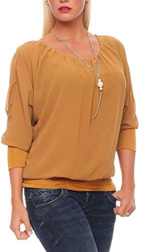 Malito Damen Bluse mit passender Kette   Tunika mit ¾ Armen   Blusenshirt mit breitem Bund   Elegant - Shirt 1133 (dunkelgelb)