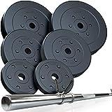 ScSPORTS® 39 kg Hantelset mit Langhantel und 6 Hantelscheiben aus