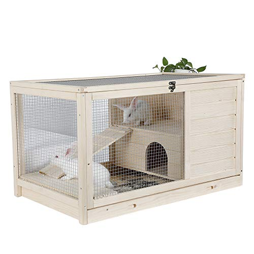 """Petsfit Indoor Rabbit Hutch & Hamster Cage with Hideout for Rest and Ramp for Enter and Out 35.5"""" x 21"""" x 20"""""""