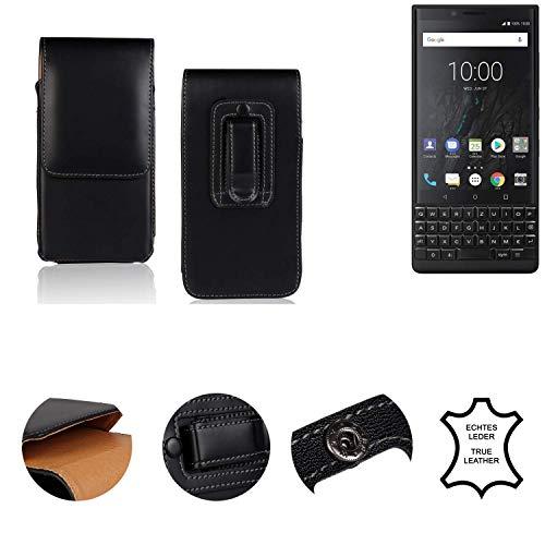 K-S-Trade® Holster Gürtel Tasche Für BlackBerry KEY2 (Dual-SIM) Handy Hülle Leder Schwarz, 1x