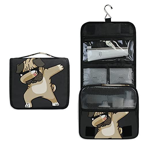 Perro Negro Lindo Pug Bolsa de Aseo Colgante Organizador Cosmético de Viaje Ducha Bolsa de Baño Neceser de Viaje para Maquillaje niñas Mujeres