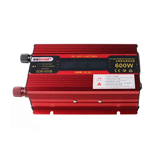 Gwxevce 600 Car Inverter DC 12V / 24V a AC 110V / 220V convertidor de Voltaje con Pantalla LCD Rojo + Negro