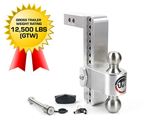 """Weigh Safe 180 HITCH LTB10-2-KA 10"""" Drop Hitch, 2"""" Receiver 12,500 LBS GTW - Adjustable Aluminum Trailer Hitch Ball Mount & Stainless Steel Combo Ball, Keyed Alike Key Lock and Hitch Pin"""