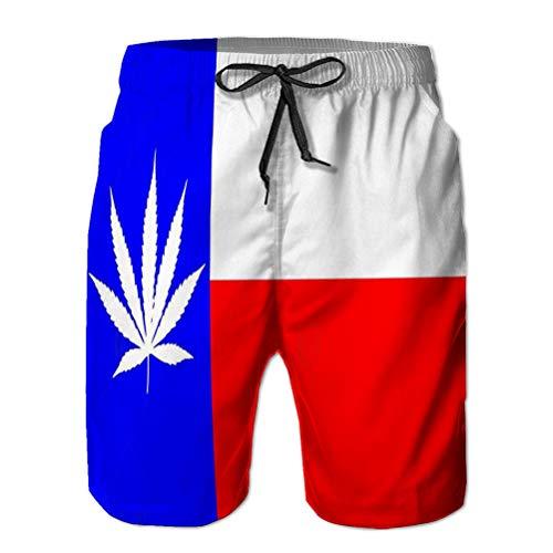 LJKHas232 Pantalones Cortos para Hombre Pantalones Cortos de Playa de Secado rápido Bolsillos Watershort Bandera de Texas Estado de representación de Hojas de Marihuana superpuesto