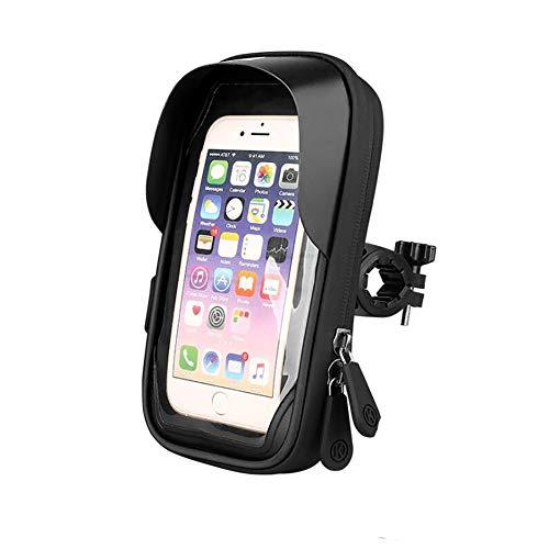 MAODOU - Bolsa para cuadro de bicicleta resistente al agua para manillar de bicicleta, funda para teléfono móvil, adecuado para smartphones de TPU pantalla táctil de 6,4 pulgadas, Negro