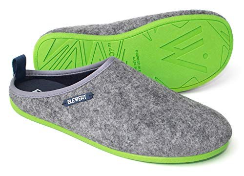 ELEWERT Hausschuhe für Herren/Damen - Natural - Pantoffeln/Slipperfür Drinnen und Draußen - herausnehmbares Fußbett, 45 EU, Grau Grün