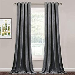 "affodable StangH Gray Velvet Curtain 84 ""-Elegant Blackout Velvet Curtain Blackout-Insulated Living Room / Office Window Curtain Gray W52by L84"" 2 Panels"