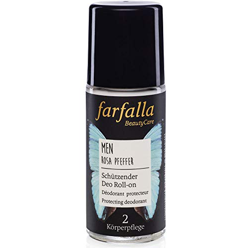 farfalla Men Deo Roll-on - Rosa Pfeffer - 100% zertifizierte Naturkosmetik NaTrue (1x50ml)