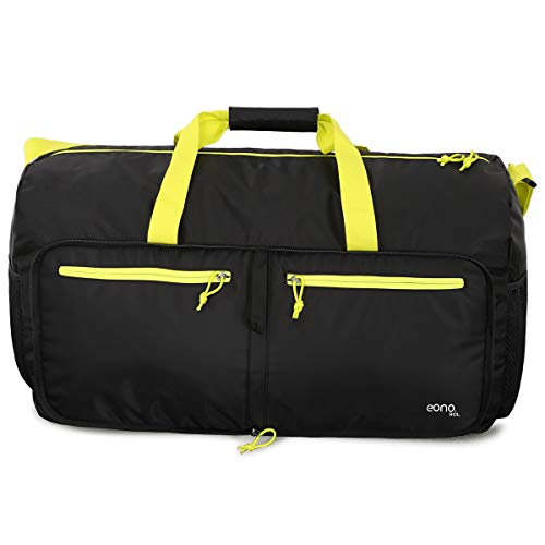 Eono by Amazon - 90L Foldable Travel Duffle (Black+Yellow)