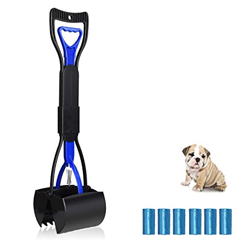 UPSTONE Folding Pets Pooper Scooper Set for Dogs with Poop Bags Waste Pick up Best Long Handle Scoop Easy to use Portable and Heavy Duty with Jaw Claw Bin (23.5 inches) Blue.