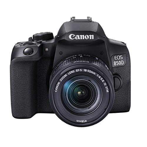 Canon EOS 850D DSLR Digitalkamera Gehäuse - mit Objektiv EF-S 18-55mm F4-5.6 IS STM (24,1 MP, 7,5 cm (3 Zoll) Display, APS-C Sensor, 45 AF-Kreuzsensoren, 4K, DIGIC 8, WLAN, Bluetooth) schwarz