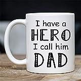 N / A Nettes Elterngeschenk - Ich Habe einen Helden Ich nenne ihn Vater Kaffee & Teebecher - Beste einzigartige Kinder-Teetasse - Keramik-Vater und Eltern-Tasse