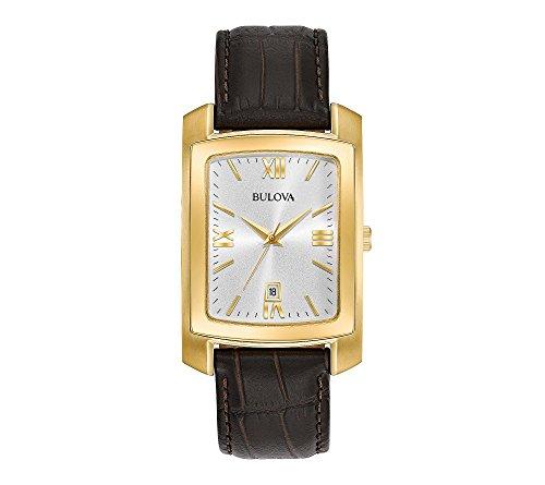 Bulova Classic - Reloj rectangular para hombre con correa de piel de cocodrilo