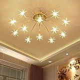 LED Deckenleuchte Modern Rund Wohnzimmer Schlafzimmer Deko Decke Lampen Esstischlampe Küchenlampe Hängend Leuchte Chic Star Acryl Lampenschirm Design Pendelleuchte für Büro Esszimmer Warmes Licht (12)