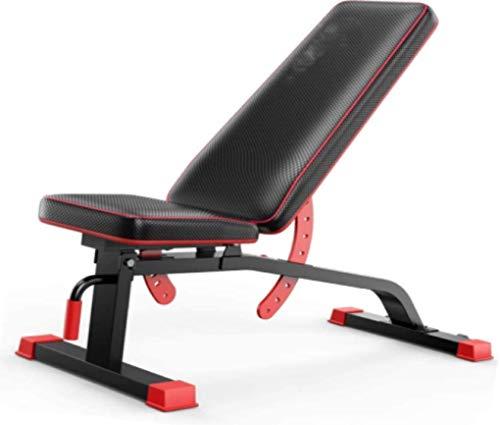 HUJPI verstellbare Sit-Up-Bank, Klappbar Hantelbank höhenverstellbar Trainingsbank mit hochwertigem dickem Polster/Rückenlehne verstellbare Sit-Up-Bank für Ganzkörpertraining,Black