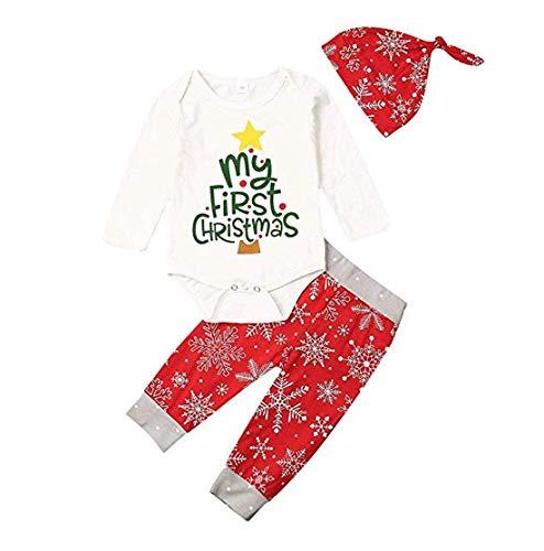 Traje de Navidad para bebés y niñas,Body de Mameluco My First Christmas de Mangas Largas para Bebés Niños+ Pantalones Largos + Sombrero Ropa de Navidad (Rojo, 0-3m)