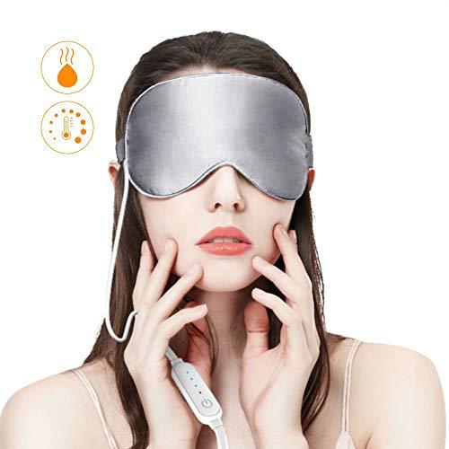 Dragoskandia Augenmaske Wärmend Schlafmaske Seide Damen Frauen Herren EM200 Graphene USB Beheizte Schlafmaske mit Ohrstöpsel, 3 Temperaturstufen
