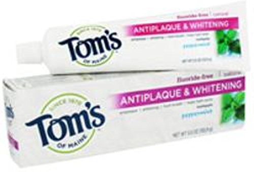 Tom's of Maine Tom's of Main Antiplaque & Whitening Fluoride Free Peppermint Toothpaste 5.50 oz (Pack of 12)