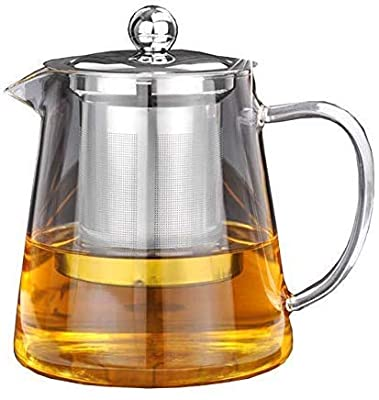 18OZ Clear teapot with Heat Resistant Stainless Steel Infuser, Stovetop Kettle, Glass Tea Kettle with Handle for Blooming tea Leaf. Glass Teapot with Infuser for Fruit Tea (550ML)