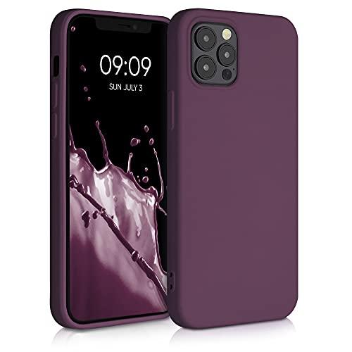 kwmobile Slim Hülle kompatibel mit Apple iPhone 12/12 Pro - Hülle Silikon Handy - gummiert - Handyhülle Bordeaux Violett
