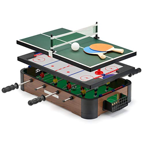 Power Play TY6155 Powerplay 3 in 1 Top Games, Mini Football, Hockey and Table Tennis, one Size