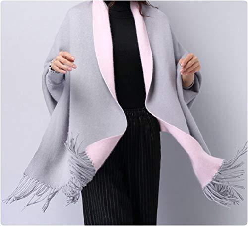 MyBeautyworld24 Frauen Kaschmir Poncho Strickjacke Strickpullover Mantel Winter Pullover Oversize Schal mit Ärmeln Farbe grau rosa