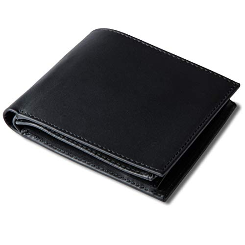 SIR WALTER Herren Geldbörse Echt-Leder (Keine Logos) RFID Schutz (Schwarz) Portemonnaie Geldbeutel Portmonee Männer