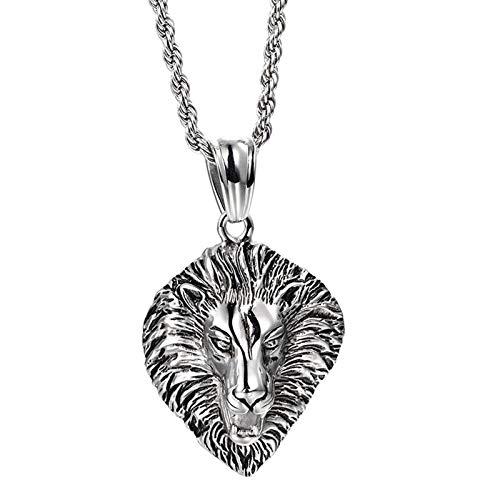 Aimsie Herren Halskette Edelstahl Löwenkopf Halskette mit Anhänger