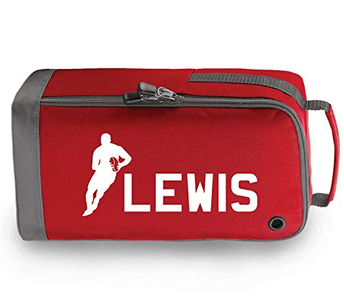 beyondsome Personalised Childrens Rugby Boot Bag Kids Boys Girls Sport Pe Kit Gym Gift, Red/White Print