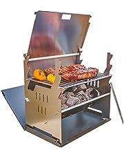 FENNEK Grill | Houtskoolgrill | mobiel/insteeksysteem | voor kamperen/trekking/camperleven, tuin en outdoor grillplezier | van rvs