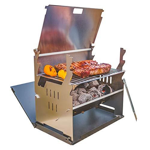 FENNEK Grill und Zubehör | Mobiler und steckbarer Holzkohle-Grill aus Edelstahl für Camping, Trekking, Vanlife, Garten und Outdoor Grill-Spaß (FENNEK Grill)