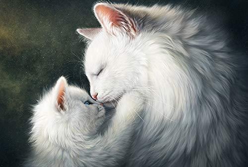 Qilo Rompecabezas de Gatos Gatito del Gato Serie Rompecabezas - Cat Mother Love - 300/500/1000 Pieza de Madera for los Amantes del Gato - Puzzle Juego Interesante decoración del hogar Reg