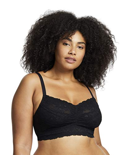 Montelle Women's Wirefree Cup Sized Stretch Floral Lace Bralette, Black, 32D/E