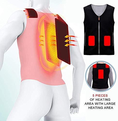 CHNDR Elektrische warme kleding, USB-oplaadvest, winter elektrisch verwarmd gilet, met ritssluiting, fleece materiaal, geschikt voor de winter in de vrije werker en studenten (uniseks), zwart-L
